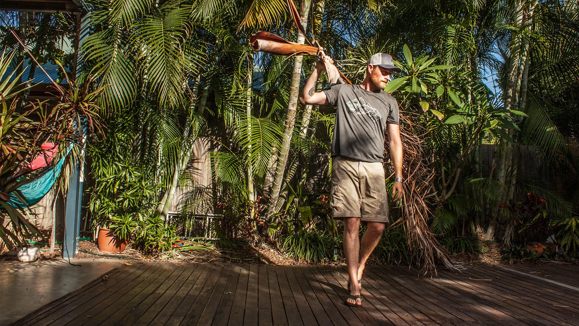 Palmblätter aufräumen