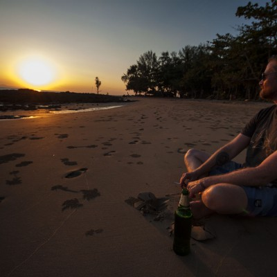 Bierchen im Sonnenuntergang.